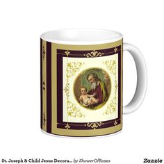 St. Joseph & Child Jesus Decorative Gold Classic White Coffee Mug