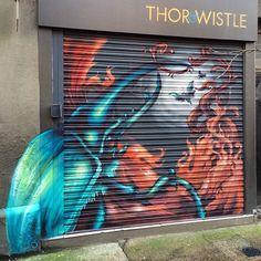 Shutter spray art by Pistoja in London