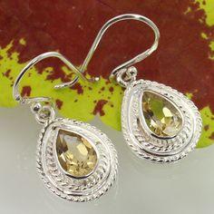 Handmade Art Earrings Real CITRINE Faceted Gemstones 925 Sterling Silver Jewelry #Unbranded #DropDangle