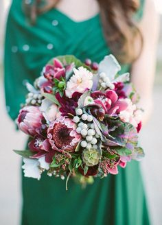 Cabbage leaves and purple proteas are just the recipe for an organic inspired bouquet. Fall Wedding Bouquets, Floral Arrangements