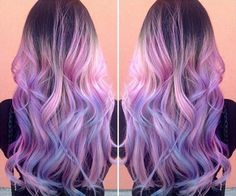 Pastel purple, pink & blue ombre hair color with highligh,nice summer waves for dark hair girls (from hot beauty magazine)