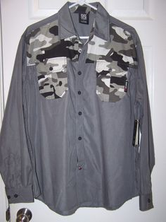 NEW Enyce Sean Combs Gray Camo/Camouflage Shirt Button Down L/S NWT Sz Large #Enyce #ButtonFront