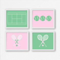 Arte de tenis: Raquetas de tenis pelotas de por TwooverTwoStudio