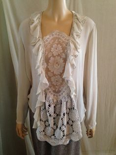 """Lagenlook Shabby Vintage Blouse Washed Silk Vintage Lace Romantic Altered Recycled One Size Fits S-L-Fun idea for a bland ruffle blouse. Not sure about that bottom lace bit. Looks very """"after thought"""". Beautiful designs on this site."""