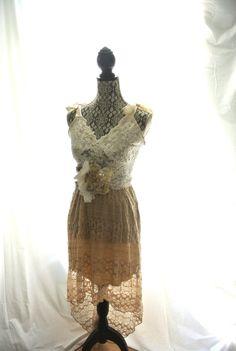 vintage look altered clothing slip dresses | Bohemian lace Prairie dress, romantic shabby slip dress, Altered ...