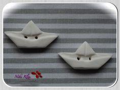 2 Papierschiffchen Knöpfe (Fimo, weiß) von ★ Niki Klex ★  auf DaWanda.com
