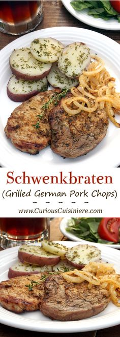 Juicy, smoky grilled German pork chops cooked on a swinging grill! #SundaySupper | www.CuriousCuisiniere.com