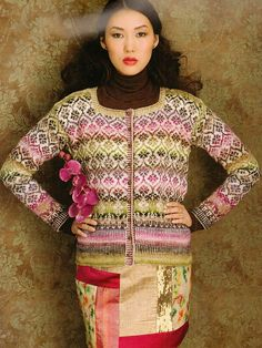 Noro knitting patterns, Knit Noro, Fair Isle Cardigan, from Laughing Hens