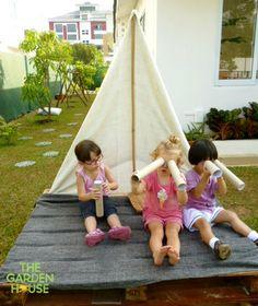 The Garden House: Little adventurers on a homemade ship using a pallet. Looks…