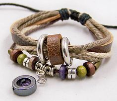 Beautiful  Cuff  Wristband Cuff Bracelet  Womens mens Leather bracelet  Bead Metal  with Rope Adjustable A0044. $6.99, via Etsy.