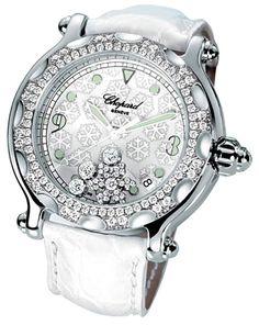 Chopard Happy Sport Diamond Snowflake 18kt White Gold Steel White Ladies Watch 288946