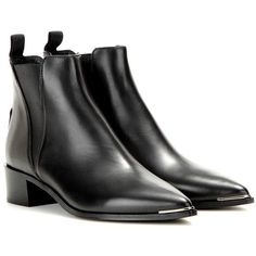 Acne Studios Jensen Leather Ankle Boots (4 835 SEK) ❤ liked on Polyvore featuring shoes, boots, ankle booties, zapatos, black, black ankle bootie, black booties, leather bootie, short leather boots and black leather bootie