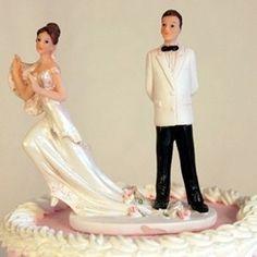 """""""Run Away Bride"""" Funny Wedding Cake Topper"""