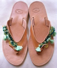 Handmade Genuine Leather Ladies Sandals by ScreationsGR on Etsy Ladies Sandals, Palm Beach Sandals, Lady, Leather, Handmade, Shoes, Fashion, Moda, Hand Made