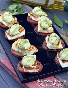 Grilled Cottage Cheese with Tomato and Basil Oil