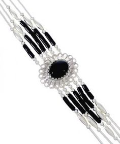 Hand Strung Liquid Sterling Silver Onyx Concho Bracelet CB5X