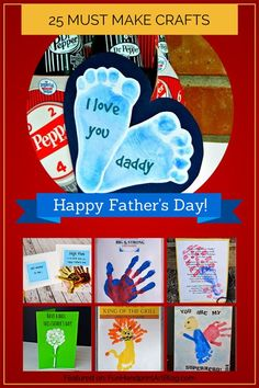 Baby crafts Fathers Day - 25 Must Make Handprint Crafts for Father's Day