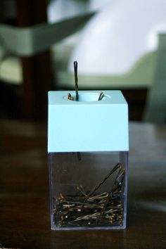 Store your bobby pins in a magnetic paperclip holder. | 7 Easy Organizing Tricks You'll Actually Want To Try