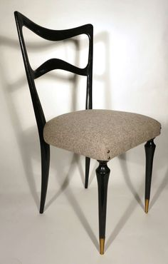 set of 6 ebonized wood dining chairs attributed to guglielmo ulrich - Vintage Wooden Dining Chairs