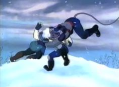 Modo, Vinnie & Charley tackling each other while having a snowball fight.