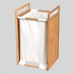 Panier à linge Bois et tissu Blanc