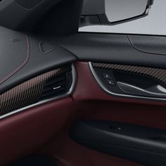Precisely crafted and meticulous in detail this luxury Morello Red Carbon Fiber trim distinctively defines the interior of your ATS Attention to detai Maserati, Bugatti, Custom Car Interior, Truck Interior, Interior Trim, Interior Design, Interior Paint, Audi, Porsche