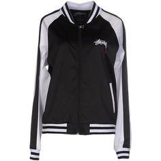 Stussy Sweatshirt (£78) ❤ liked on Polyvore featuring tops, hoodies, sweatshirts, black, logo sweatshirts, zipper top, zip top, long sleeve sweatshirt and two tone sweatshirt