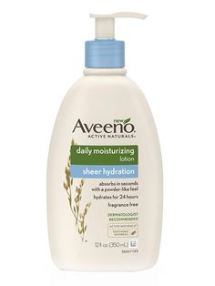 BODY Aveeno's new body cream is just as hydrating and soothing as the original (it's fragrance-free and noncomedogenic), but the formula is so lightweight that it absorbs into the skin in a matter of seconds—no white streaks or greasy spots left behind.