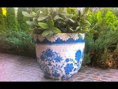 Decoupage krok po kroku - niebieska doniczka - YouTube