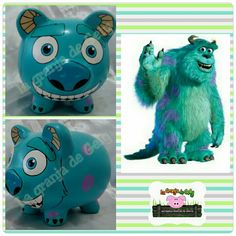 Monster inc Monsters Inc, Fun Crafts For Kids, Arts And Crafts, Kid Crafts, Wooden Piggy Bank, Pig Bank, Personalized Piggy Bank, Cute Piggies, Godchild