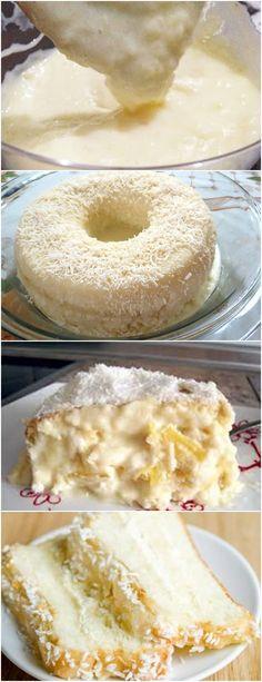 BOLO CREMOSO DE COCO E LEITE CONDENSADO, O MELHOR QUE JÁ EXPERIMENTEI!! VEJA AQUI>>>No liquidificador, bata os ovos, o leite, a farinha de trigo, o açúcar, o fubá, a manteiga, o amido de milho #receita#bolo#torta#doce#sobremesa#aniversario#pudim#mousse#pave#Cheesecake#chocolate#confeitaria Food C, Food Menu, Good Food, Yummy Food, Candy Recipes, Sweet Recipes, Portuguese Recipes, Desert Recipes, No Bake Cake