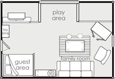 "We don't all have the luxuries of all single-purpose rooms in our homes. Many homes come with a ""bonus"" room over the garage (I've never understand why they call it a ""bonus"" – seems to me I paid for it!). Anyway, our ""bonus"" room is my favorite room in the house because it works as a play room, guest room and upstairs family room. But what a decorating challenge! Here are some ideas we used (note: click on images to see them bigger). We arranged the room by function as much as possible…"