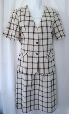 ba7bd5a741 New Without Tags Vintage 1970s Women's NEW ATTITUDE Khaki & Black Plaid  Short Sleeve Skirt Suit Sz 12 Union Label Made in USA