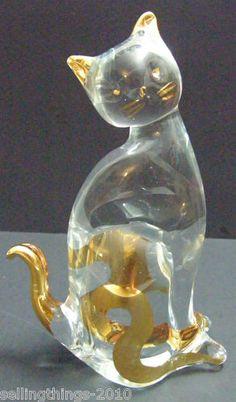 Art Glass Crystal Cat | eBay