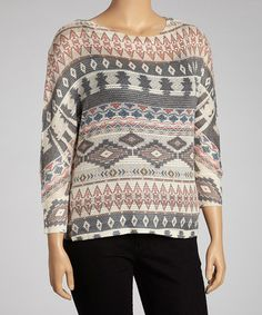 Take a look at this Tan & Red Tribal Long-Sleeve Top - Plus by Perch by Blu Pepper on #zulily today!