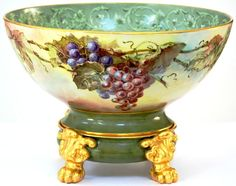 Limoges Hand Painted Grapes Punch Bowl on Paw-Footed Plinth/Base