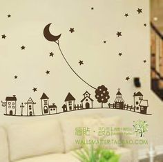 European style children's room wall decor , Starry sky fairy tales kid's room decorative vinyl wall stickers free shipping g0162-inWall Stic...