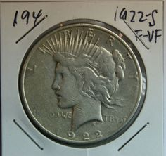 1922 S PEACE SILVER DOLLAR CIRCULATED, VERY NICE COIN!  NO RESERVE #194 $35