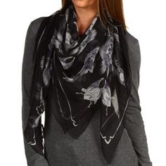 Alexander McQueen Wing Travel Scarf Chiffon