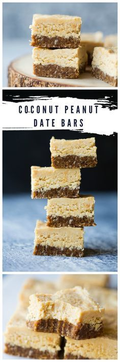 No bake, gluten free and vegan Coconut Peanut Date Bars. The deliciousness is too much to handle! | wholesomepatisserie@gmail.com #glutenfree #vegan