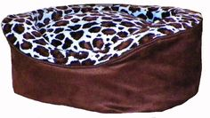 Pampered Pets Oval Pet Bed, X-Large, Brown Suede with Blue-Brown Animal Print -- Read more at the image link. (This is an affiliate link and I receive a commission for the sales)