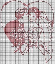 Znalezione obrazy dla zapytania obrazki ślubne do haftu krzyżykowego