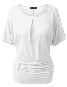 Amazon.com: Doublju Womens Short Sleeve Round Neck Batwing Dolman Top With Ruched Sides: Clothing