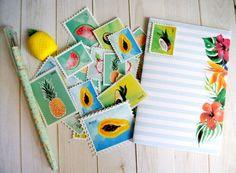 Imprimible sellos de frutas tropicales