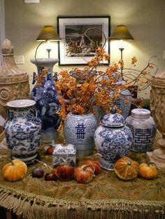 Handsome blue vignette vases with miniature velvet pumpkins