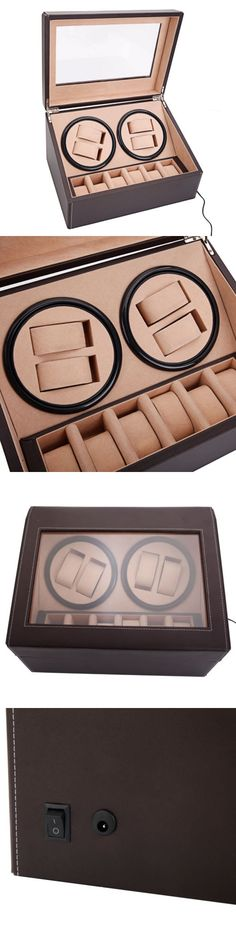 Boxes Cases and Watch Winders 173695: Brown Leather Watch Winder Storage Auto Display Case Box 4+6 Automatic Rotation -> BUY IT NOW ONLY: $52.07 on eBay!