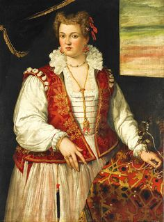 Portrait of a Lady with a Squirrel by Francesco Montemezzano ca. 1540–after 1602 Featuring a elegantly dressed lady wearing a long gold chain and a beaded choker necklace, this portrait also has a finely ornamented squirrel sitting on the table next to the lady.