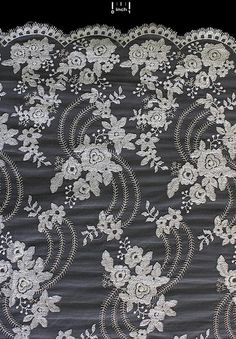 New to LAURAsLaceFabrics on Etsy: Ivory Lace Fabric - Allover Embroidery Lace Fabric with Scalloped eyelash Edges - Bridal Lace Fabric - Special Occasion fabric (18.50 USD)
