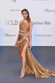 Olivia Palermo in #RobertoCavalli  leopard print dress @ the #amfAR Gala 2013 in #Cannes2013
