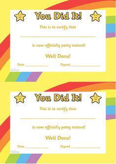 Twinkl Resources >> Potty Training Certificate  >> Classroom printables for Pre-School, Kindergarten, Elementary School and beyond! Certificates, Awards, Potty Training, Class Management